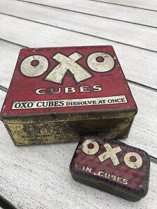 Vintage metal tins - Oxo cubes - Original - 2 tins