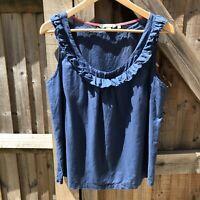 Boden Blue Lightweight Cotton Sleeveless Ruffle Summer Top Size 14 VGC