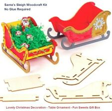 Wooden Santa Sleigh Kit Christmas Decoration Model No Glue Use for Sweets Gifts