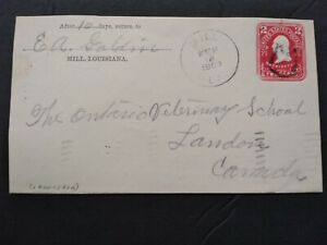 Louisiana: Mill 1909 2c Entire Cover to Canada, Fancy M Cancel, DPO Winn Parish