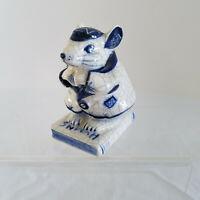 Vintage 1984 Artist Signed Cobalt Blue White Mouse Figurine 'Scholar' Book HUMNS