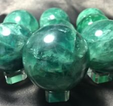 RAINBOW FLUORITE SPHERE! GLOWING Green Crystal Ball! 1(One) With GREAT COLOR!