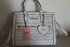 NWT JUICY COUTURE RAINBOW WHITE ITS A MAN WORLD SATCHEL CROSSBODY BAG $99 PURSE