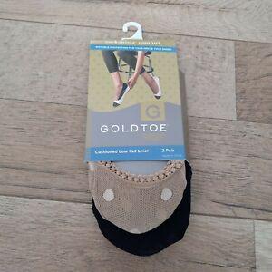 GOLDTOE Women's Cushioned Low Cut Liner Socks 2 Pair Shoe Size 5-9 Black/Tan