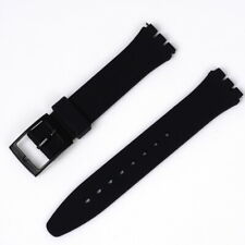 Black Resin Ultra Thin 17mm Watch Strap for Swatch Replacement Christmas Gift UK
