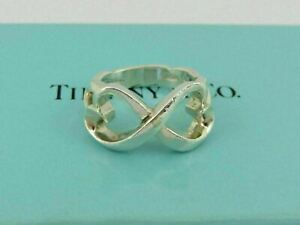 TIFFANY & CO Sterling Silver Double Loving Heart Ring Size 5.25