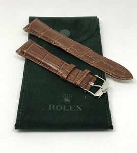 ROLEX Watch Band 20MM Brown Leather with Steel Buckle & ROLEX Suede Pouch