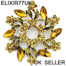 LARGE GOLD DIAMANTE CRYSTAL VINTAGE FLOWER BROOCH PINS BOUQUET ANTIQUE GIFT LOT
