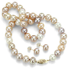 Pearl Necklace and Earrings Set 14k Yellow Gold 7-7.5mm Multipink Freshwater