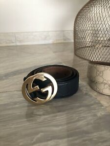 Gucci Leather Belt Dark Blue Monogram