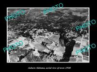 OLD POSTCARD SIZE PHOTO AUBURN ALABAMA AERIAL VIEW OF THE TOWN c1940