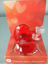 Valentines Red Double Hearts with Blue & Pink Birds Glass, on Mirror Base