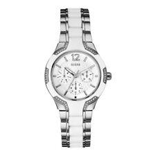 GUESS Uhr W0556L1 Damen Edelstahl Silber Silikon Weiß Armbanduhr mit Kristallen