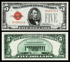 1928-F $5 Red Seal United States Note~CRISP ~GEM UNCIRCULATED