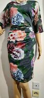 NEW PHASE EIGHT FLORAL DRESS UK 12 US 8 GREEN PURPLE ORANGE GREY 100% POLY