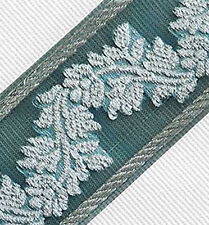 Forest Green & Metallic Silver Jacquard, Organza, Sewing Trim. Dark Green Ribbon