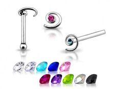 1 22g Silver Spiral Swirl CZ GEM Nose Ring Stud Pin New N022 Random Color