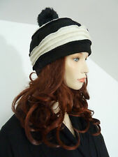 Funky lagenlook black & winter white boiled/ felted wool fury pompom hat