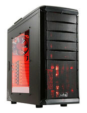 Cubitek Tattoo Fire GAMING Mid Tower Case - Side Window - Red LED Fans