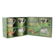 British Farm Animals Set of 4 Fine China Mugs Leonardo Sheep Cow Donkey Rooster