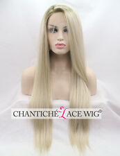 Ombre Blonde Lace Wig Long Straight Synthetic Hair Lace Front Wigs Dark Roots UK