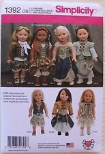 "18"" GIRL DOLL CLOTHES Simplicity Sewing Pattern 1392 American Made NEW Uncut"