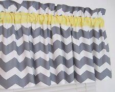 Yellow & Gray Chevron Window Curtain Topper Valance Zig Zag Bath Bedroom Nursery