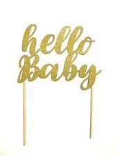 1 Pc Hello Baby Cake Topper Gold Glitter Baby Shower Gender Reveal Boy Girl