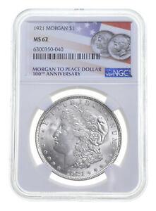 1921 MS62 Morgan Silver Dollar NGC 100th Anniversary Label Philadelphia *0061