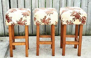 Vintage Mid Century Wooden Square Bar Stool Chair Velvet Seat Floral Print LOTx3