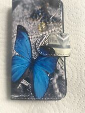 Iphone 5/5S Blue Butterfly Design Leather Phone Cover