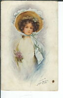 AY-033 - Pretty Demure Woman in Hat Artist Signed 1907-1915 Golden Age Postcard