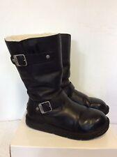 UGG Kensington schwarz Leder Stiefel Größe 4.5/37
