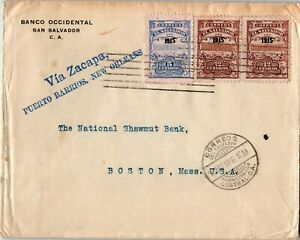 El Salvador Postal History: LOT #1 1916 29c Franking VIA ZACAPA to BOSTON $$$