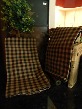 Primitive Vintage Look Country RED Green & Tan Checked Kitchen Towels PAIR