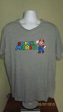 2XL Nintendo Super Mario Gray T-Shirt Short Sleeve NES SNES N64 Gamecube Wii U