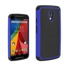 Hybrid Impact Shock Proof Rugged Case For Motorola Moto G 2nd Gen G2 - Blue
