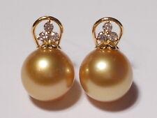 11.3mm SUR MAR Rico Golden Pearl PENDIENTES, DIAMANTES, SÓLIDO 18ct Oro Amarillo