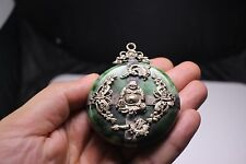 Antique Chinese Green Fui Cui Piece Plated with Silver