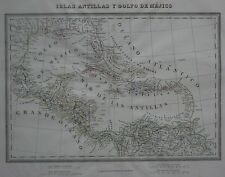 Original 1835 Spanish Map Florida West Indies Cuba Puerto Rico Panama Venezuela