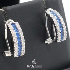 Sparkling Blue Sapphire CZ Halo Earrings Women Jewelry 14K White Gold Plated