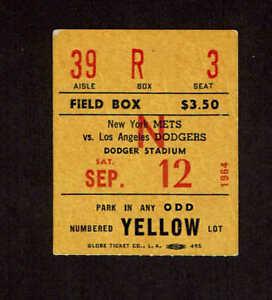 1964 LOS ANGELES DODGERS  vs NEW YORK METS  TICKET STUB