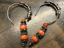 Rare Tibetan Antique Natural Salmon Coral & Sterling Silver Earrings Ca 1800's