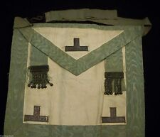 ANTIQUE CIRCA 1800's MASONIC APRON  - TO FRAME? GOAT SKIN SILK CHASED STERLING