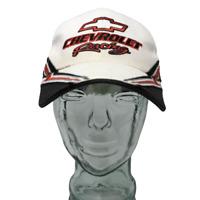 Chevrolet Racing Baseball Cap Hat Cotton Embroidered White Black OSFM Strap Back