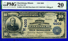 Finest Known Harrisburg, Illinois - 1902 $10 Plain Back - PMG 20 - CH# 4003
