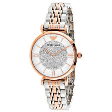 EMPORIO ARMANI White Womens Watch CRYSTAL Pave DIAL Silver ROSE GOLD AR1926