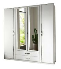 Duo 4 Door Mirrored Wardrobe With Drawers Large Mirror Hang Doors Bedroom Wood