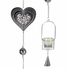 New Elegant Silver Heart Hanging Tealight Holder for Home Decorations
