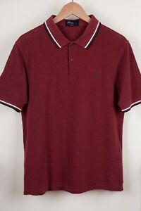 Fred Perry Burgundy Short Sleeve Cotton Polo Shirt Size L Slim Fit